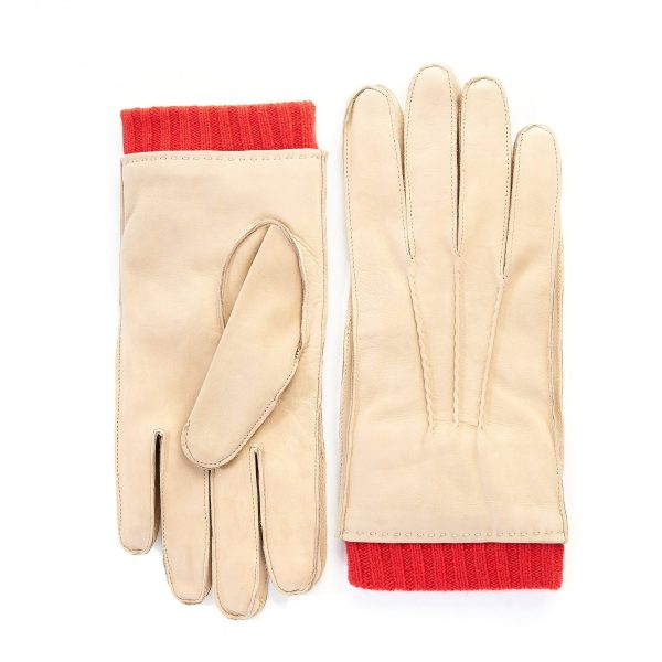 Men's nubuk gloves in beige color with red cashmere lining with cuff