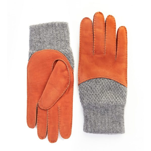 Men's hand-stitched nubuk gloves in color orange with grey cashmere top and lining
