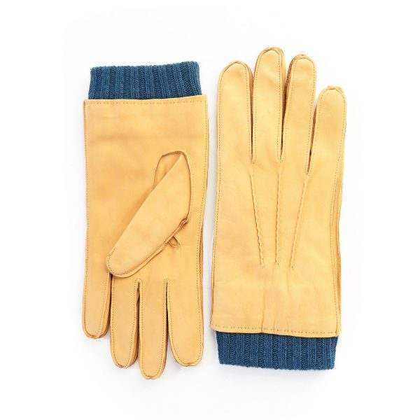 Men's nubuk gloves in yellow color with petrol cashmere lining with cuff