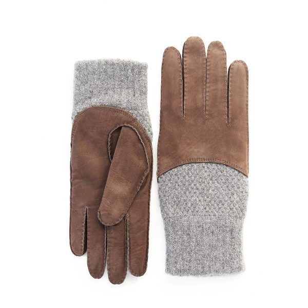 Men's hand-stitched nubuk gloves in color brown with grey cashmere top and lining