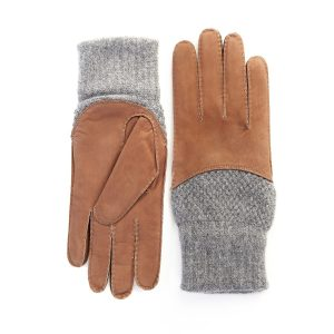 Men's hand-stitched nubuk gloves in color tobacco with grey cashmere top and lining