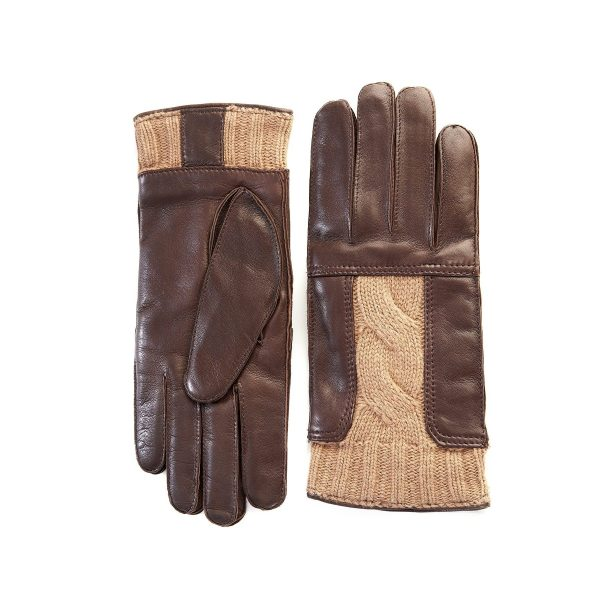 Men's leather gloves in color brown with beige woven wool insert on top