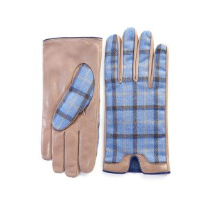 Men's leather gloves in color alpaca with light blu check fabric top of Holland & Sherry with top opening detail