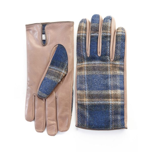 Men's leather gloves in color alpaca with blu check fabric  top of Holland & Sherry with top opening detail and cashmere lining