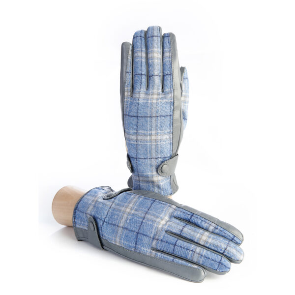 Men's leather gloves in color pearl grey with light blue check fabric top of Holland & Sherry