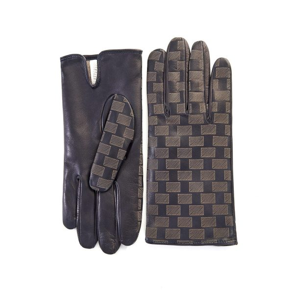 Men's navy leather gloves with laser-cut top details and mix wool-cashmere lining