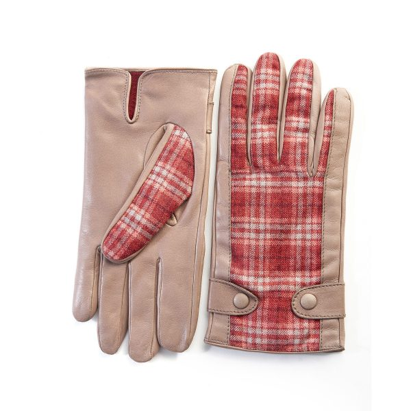 Men's leather gloves in color alpaca with red check fabric top of Holland & Sherry