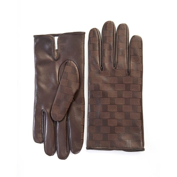 Men's brown leather gloves with laser-cut top details and mix wool-cashmere lining