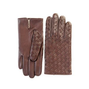 Men's brown leather gloves with woven panel top, wool lined