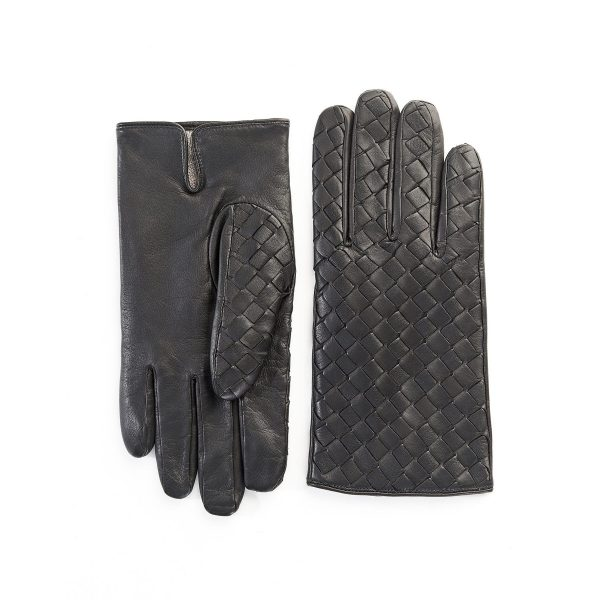 Men's black leather gloves with woven panel top wool lined
