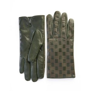 Men's green leather gloves with laser-cut top details and mix wool-cashmere lining