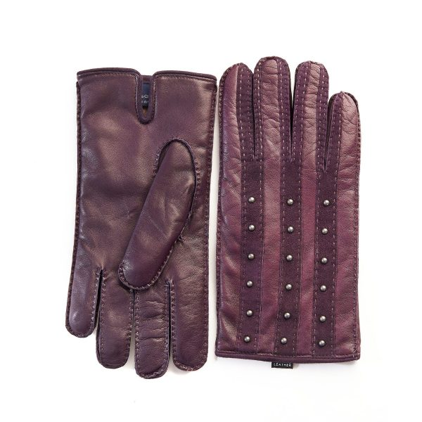 Men's hand-stitched purple leather gloves with studs and cashmere lining