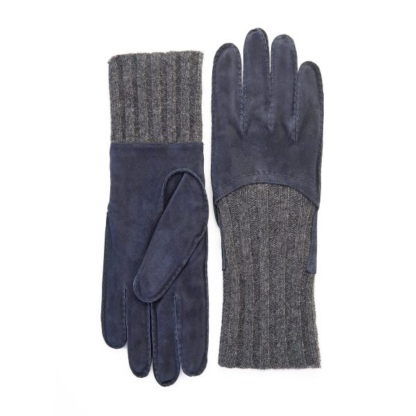 Men's hand-stitched navy suede gloves with grey wool lining with cuff