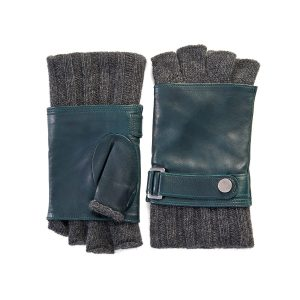 Men's half finger wool lined dark green leather gloves with strap detail