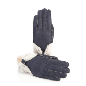 Women's blue lambskin gloves with bow detail on top