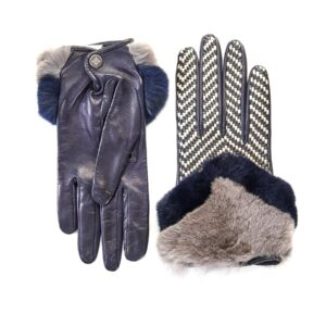 Women's blue leather gloves with bicolor woven top panel and rex rabbit fur cuff