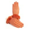Women's orange leather gloves with pure Holland & Sherry cashmere top detail eco fur cuff