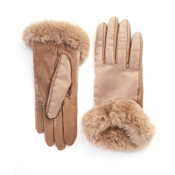 Women's alpaca leather gloves with pure Holland & Sherry cashmere top detail eco fur cuff