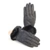 Women's black leather gloves with pure Holland & Sherry cashmere top detail eco fur cuff