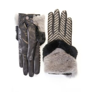 Women's black leather gloves with bicolor woven top panel and rex rabbit fur cuff