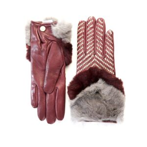 Women's bordeaux leather gloves with bicolor woven top panel and rex rabbit fur cuff