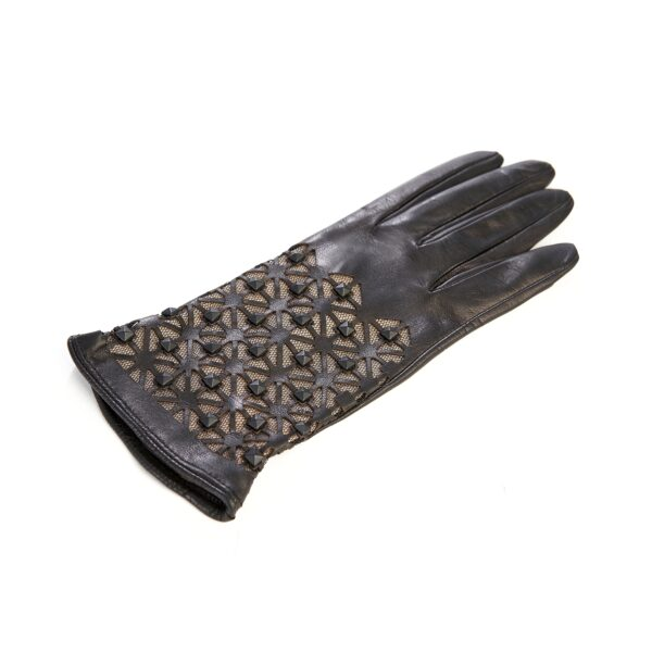 Women's black leather gloves with studs silk lined