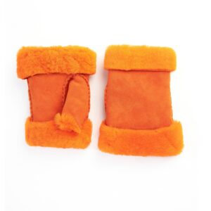 Women's lambskin fingerless in fluo orange color