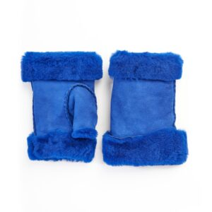 Women's lambskin fingerless in fluo electric blue color