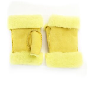 Women's lambskin fingerless in fluo yellow color