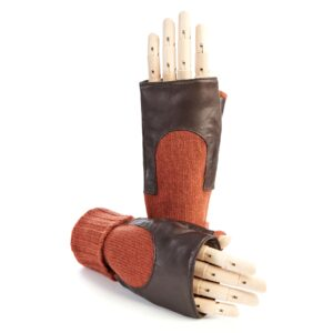 Women's brown genuine leather fingerless gloves with mid-lenght orange cashmere sleeve