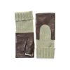 Women's brown genuine leather fingerless gloves with mid-lenght green cashmere sleeve