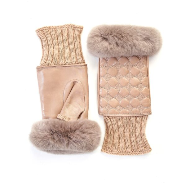 Women's alpaca leather fingerless with wool cuff and natural fur on finger tips