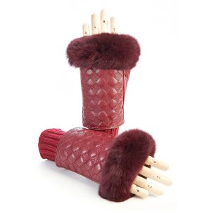 Women's red leather fingerless with wool cuff and natural fur on finger tips