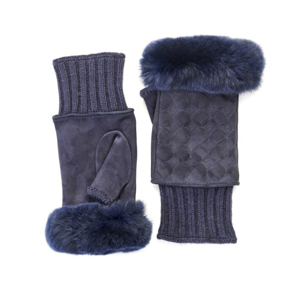 Women's blue suede leather fingerless with wool cuff and natural fur on finger tips