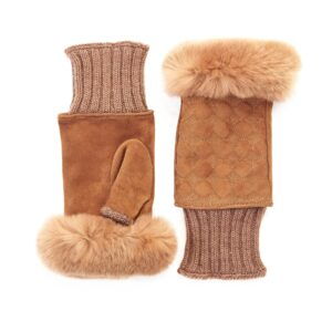 Women's tobacco suede leather fingerless with wool cuff and natural fur on finger tips