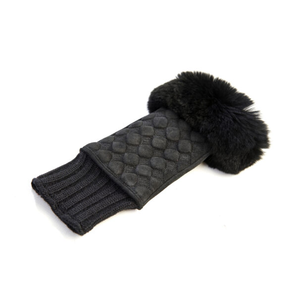 Women's black suede leather fingerless with wool cuff and natural fur on finger tips