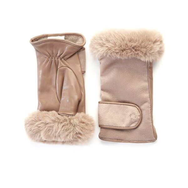 Women's alpaca leather fingerless with pure Holland & Sherry cashmere top and eco fur detail on finger tips