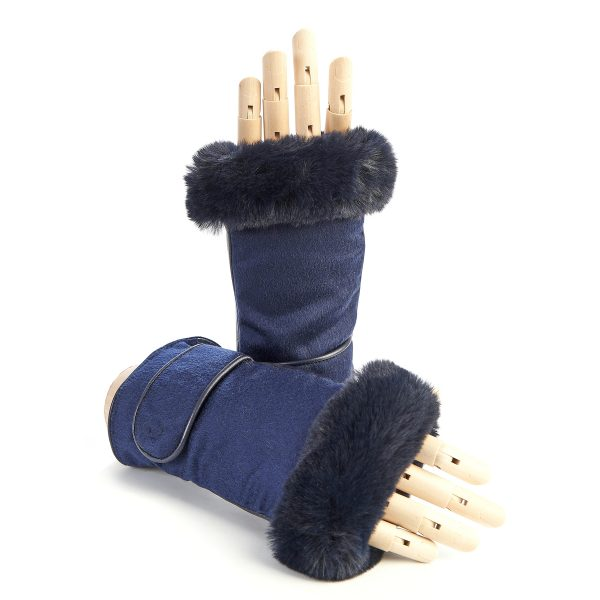 Women's blue leather fingerless with pure Holland & Sherry cashmere top and eco fur detail on finger tips