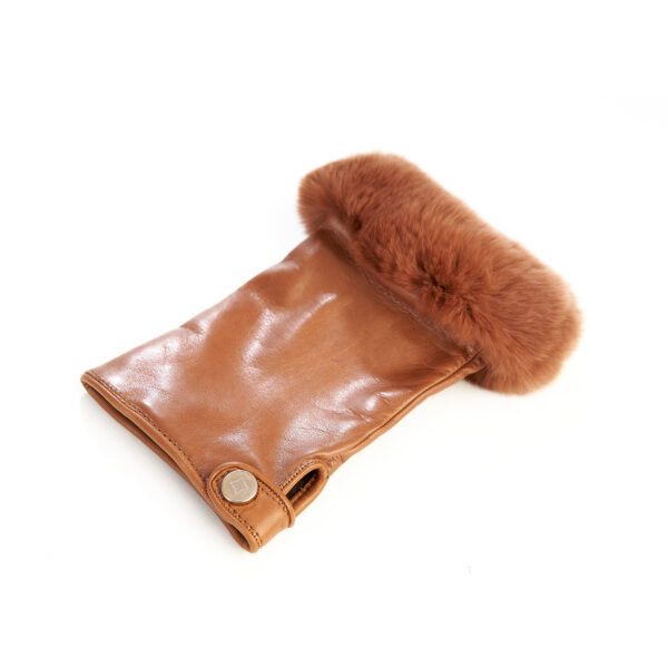 Women's camel sheepskin fingerless with natural fur on the tip of the fingers cashmere lined
