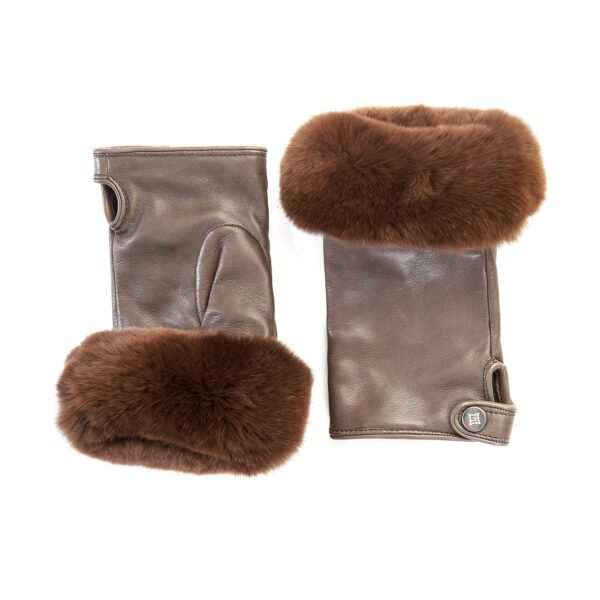 Women's mud sheepskin mitten with natural fur on the tip of the fingers cashmere lined