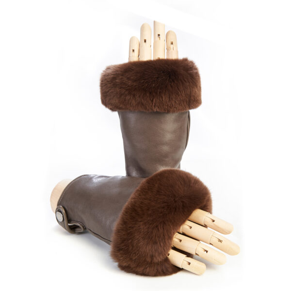Women's mud sheepskin fingerless with natural fur on the tip of the fingers cashmere lined