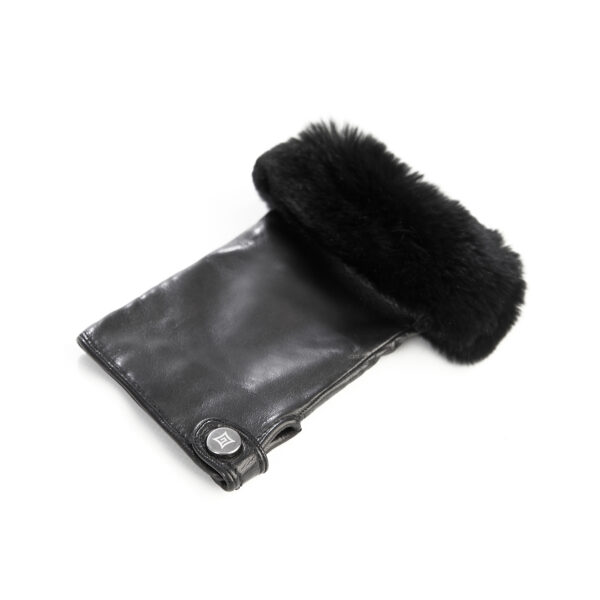 Women's black sheepskin fingerless with natural fur on the tip of the fingers cashmere lined