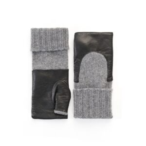 Women's black genuine leather fingerless gloves with mid-lenght cashmere sleeve