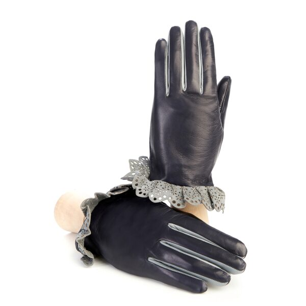 Women's navy leather gloves with grey insert and frill silk lined