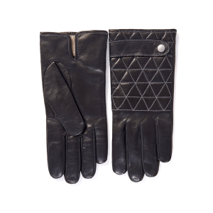 Men's quilted top sheepskin gloves with strap and contrast stitching details with cashmere lining