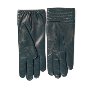 Men's sheepskin gloves in color green with quilted cuff detail and cashmere lining