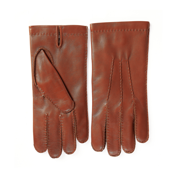 Men's fully hand-stitched genuine leather gloves in color cognac cashmere lined