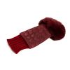 Women's bordeaux suede leather fingerless with wool cuff and natural fur on finger tips