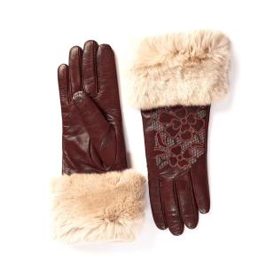 Women's cashmere lined bordeaux sheepleather gloves with flower laser cut details on top and real fur cuff