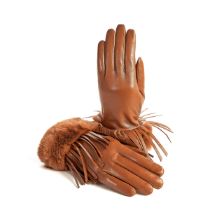 Women's cashmere lined camel sheepskin gloves with leather fringe details and natural fur cuff